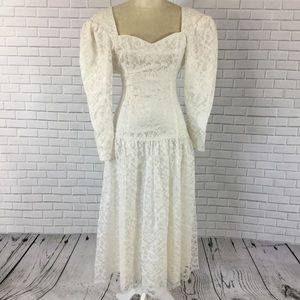 Vintage 80s Gunne Sax White/Ivory Prom Gown